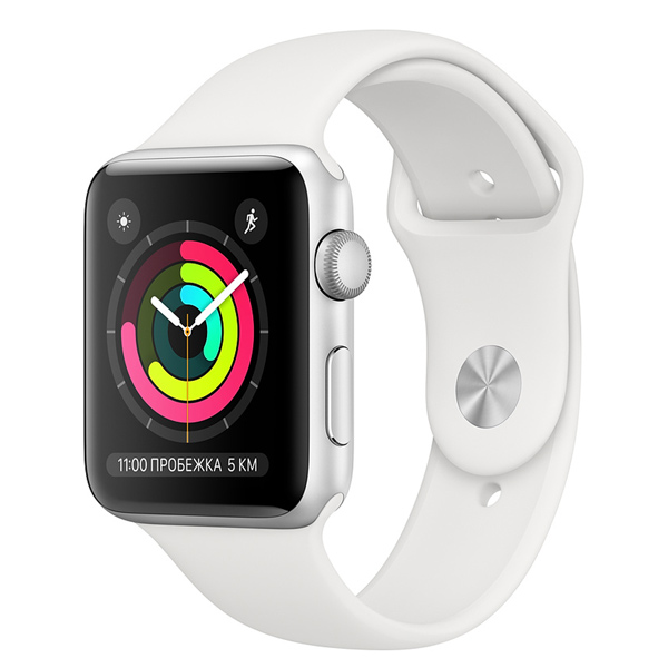 Часы Apple Watch Series 3 38mm Aluminum Silver Al/White Sport Band (MTEY2RU/A)
