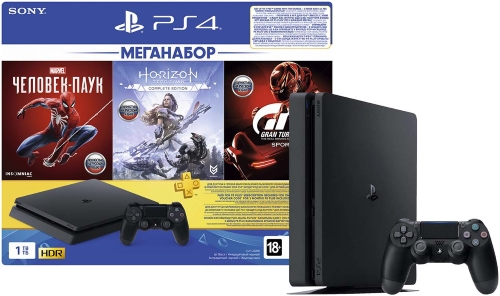 Игровая приставка PlayStation 4 1TB Gran Turismo Sport + Horizon Zero Dawn. Complete Edition + Человек-паук + PS Plus(CUH-2208B)