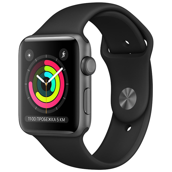 Часы Apple Watch Series 3 38mm Space Grey Al/Black Sport Band (MTF02RU/A)