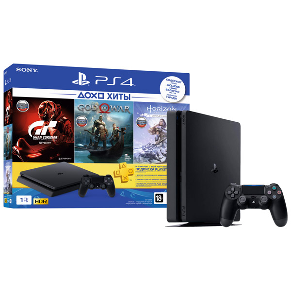 Игровая консоль Sony PlayStation 4 Slim 1ТБ Horizon Zero Dawn+ GTS+God Of War+PS+ 3 мес.(CUH-2208)